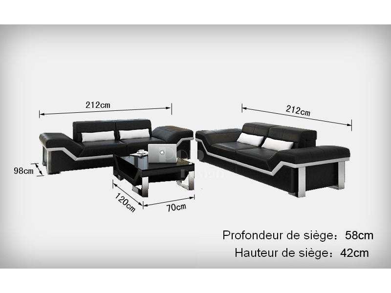 Canapé Design Places En Cuir Pleine Fleur Torino Popdesignfr - Longueur canapé 3 places