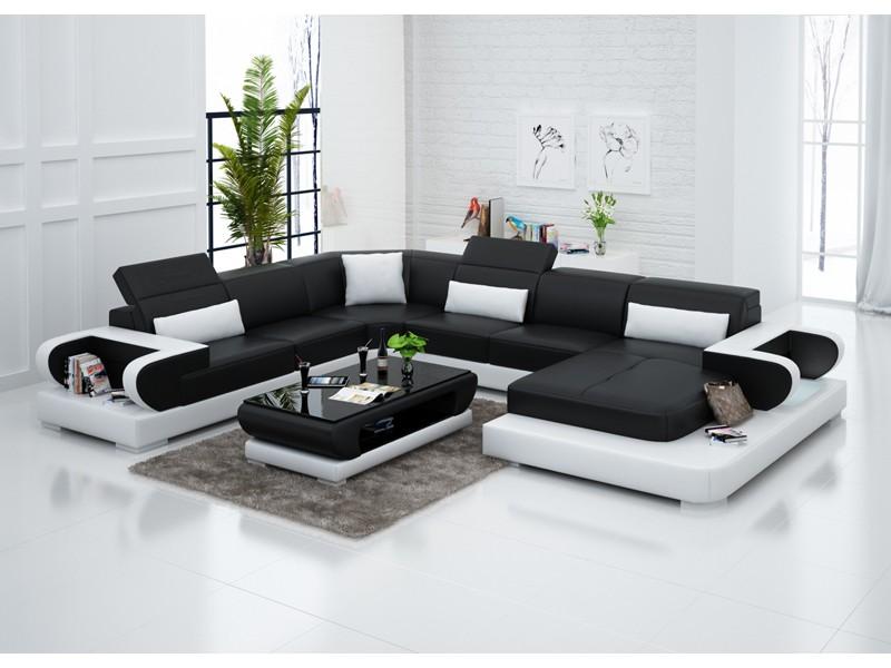 Canapé d'angle panoramique en cuir MAGNOLIA XXL | pop ...