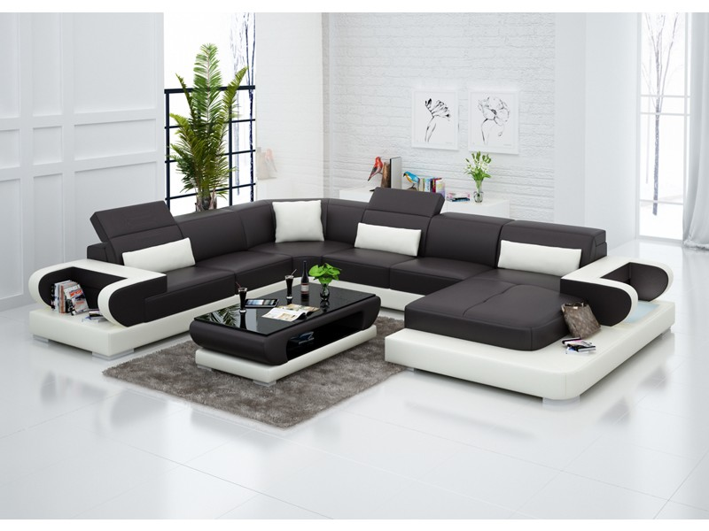 Canap d 39 angle panoramique en cuir magnolia xxl pop - Canapes ronds design ...