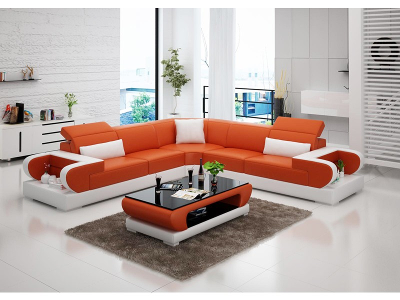 Grand canap d 39 angle en cuir magnolia l pop - Canape d angle orange ...