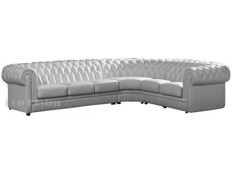 Grand canap d 39 angle en cuir pleine fleur chesterfield for Canape d angle dimension