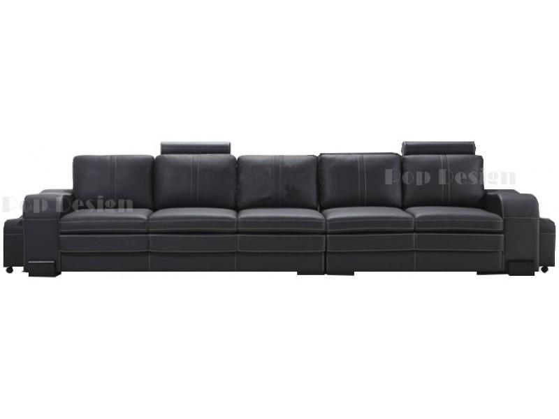 grand canap droit en cuir pleine fleur fabio 5 places. Black Bedroom Furniture Sets. Home Design Ideas