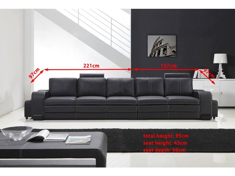 le dernier e2182 1695a Grand canapé droit en cuir pleine fleur FABIO 5 places ...