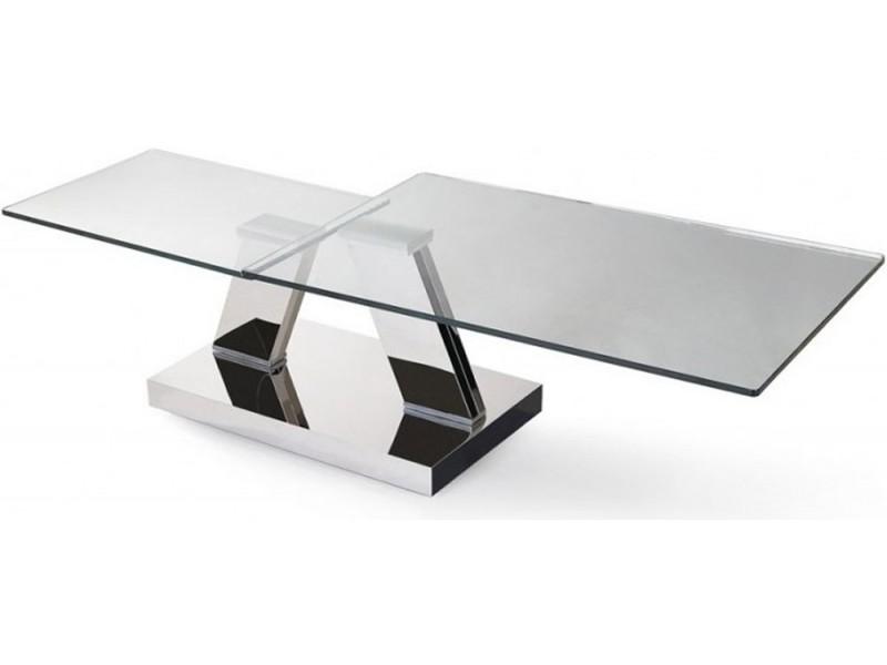 Table basse double plateaux transparents carr s chrom s - Table basse plateaux pivotants ...
