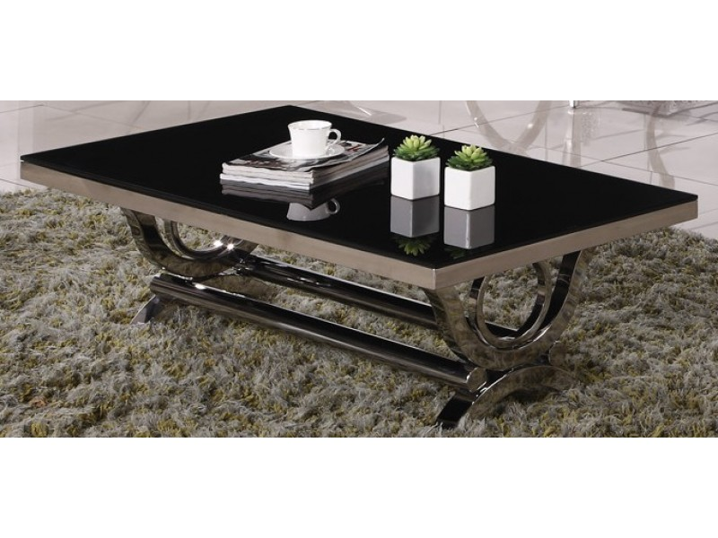 Table basse inox et verre marbre vienna tables basses tables consoles - Table basse en cuir et verre ...