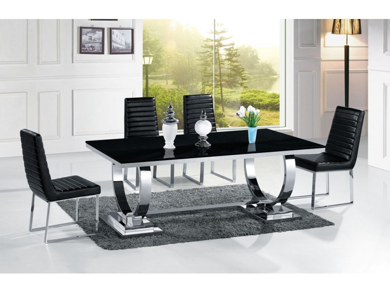 table de salle manger en inox venezia mabre ou verre pop. Black Bedroom Furniture Sets. Home Design Ideas