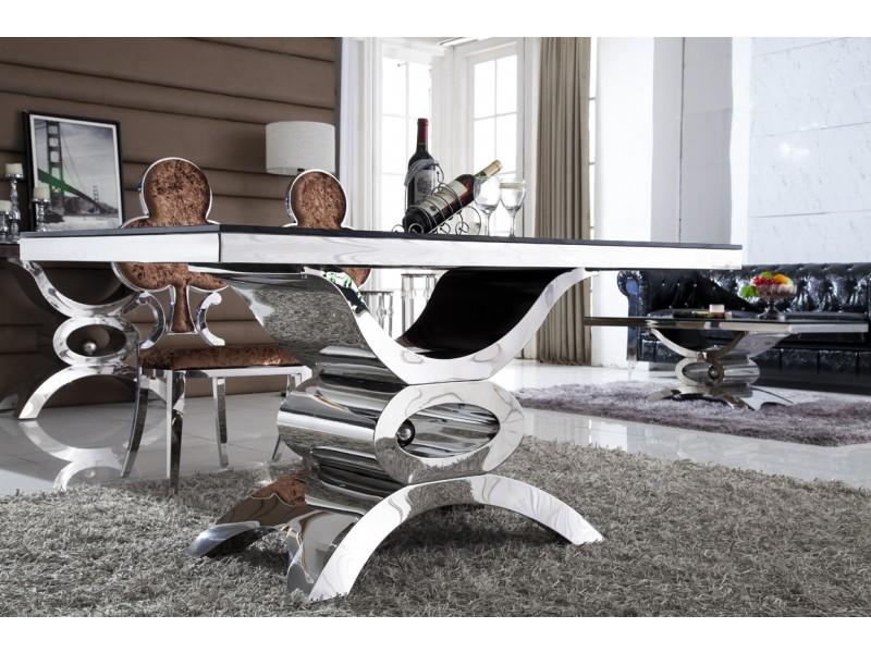 Table de salle à manger en inox et verre JAIPUR