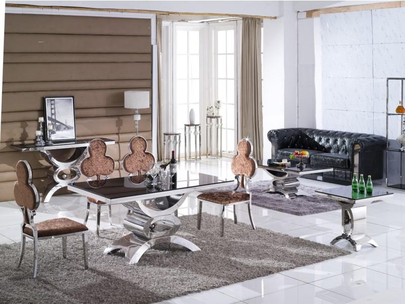table console jaipur en inox et verre marbre. Black Bedroom Furniture Sets. Home Design Ideas