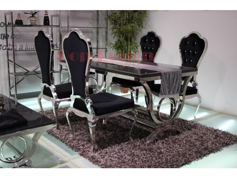 table de salle manger baroque en inox vienna pop. Black Bedroom Furniture Sets. Home Design Ideas