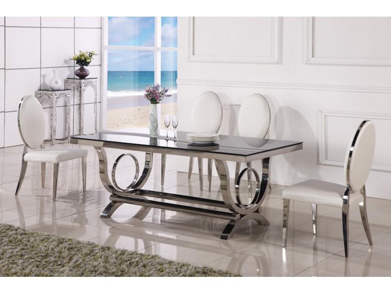 Table de salle manger baroque en inox vienna pop for Salle a manger table baroque
