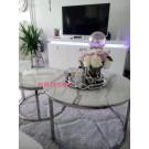 Table basse gigogne Carole marbré blanc - inox argenté
