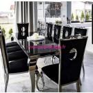 Chaises de salle à manger PALACE velours noir - lot de 6