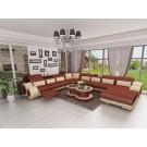 Canapé d'angle panoramique en cuir GIRO (miniature)