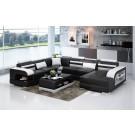 Canapé d'angle panoramique en cuir DELAVO - 276x342x176cm