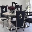 Chaises de salle à manger PALACE simili-cuir Noir ou Blanc - lot de 2