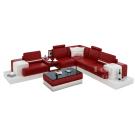 Canapé d'angle design en cuir Pino L + table intégrée