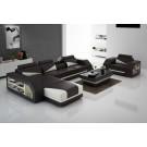 Canapé d'angle en cuir + fauteuil SAMILO (miniature)