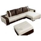 Canapé d'angle design en cuir Roma + Pouf