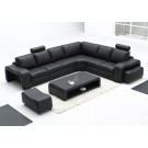 Grand canapé d'angle en cuir FABIO + 2 poufs + 1 table basse inclus - option lit convertible