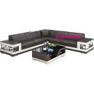 Grand canapé d'angle en cuir LILLE (avec éclairage)