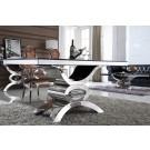 Table de salle à manger en inox et verre/marbre JAIPUR