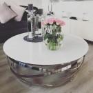 Table basse ronde Gravity chrome argenté - blanc uni
