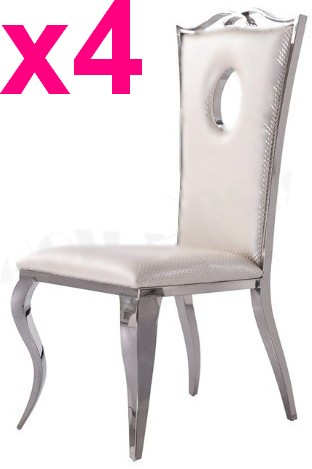 4 chaises Palace simili blanc