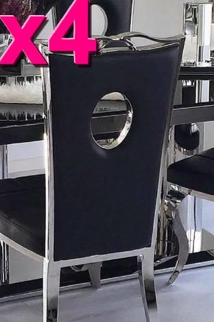 4 chaises Palace simili noir