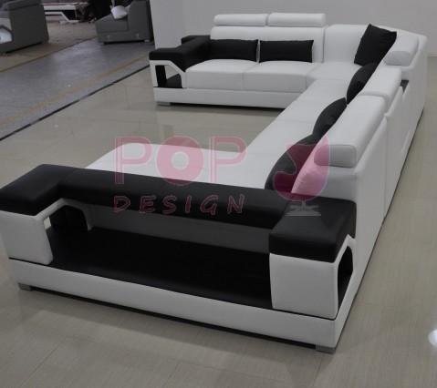 Grand canapé d angle en cuir NIMES L 6 places lit convertible op