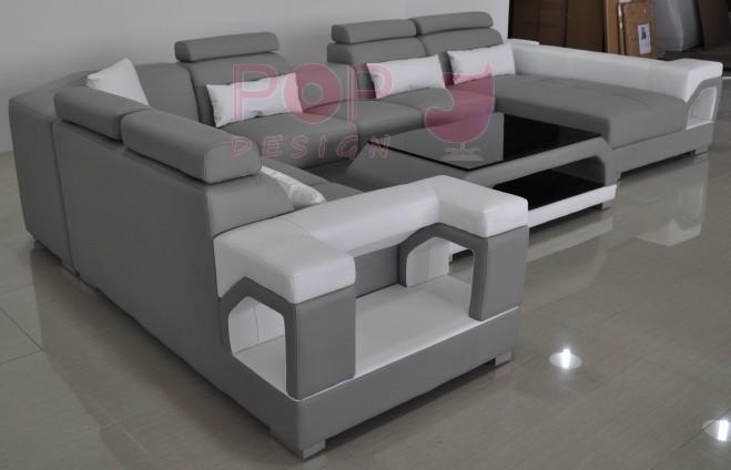 Canapé d angle panoramique en cuir NIMES XL 8 places