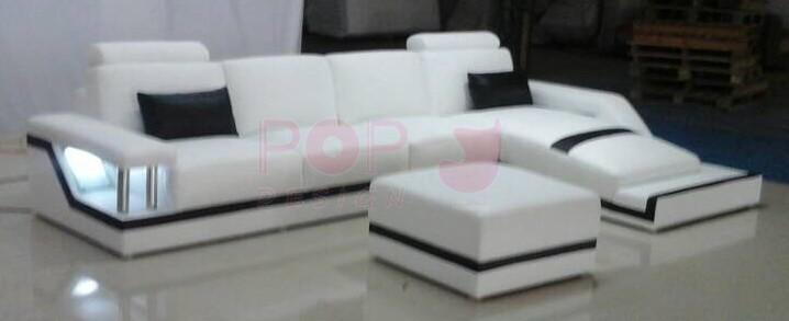 Canap d 39 angle design en cuir v ritable tosca pouf pop for Acheter canape d angle